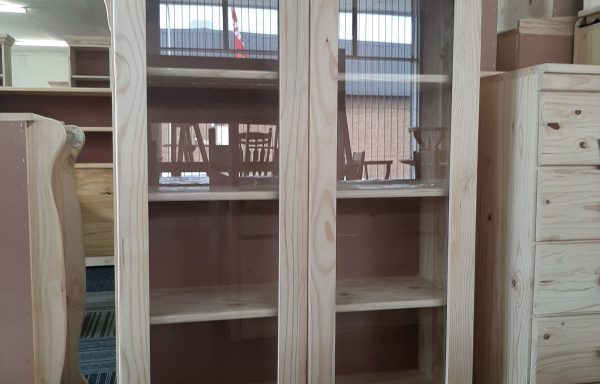 Glass Door Bookshelf with Queen Anne Legs